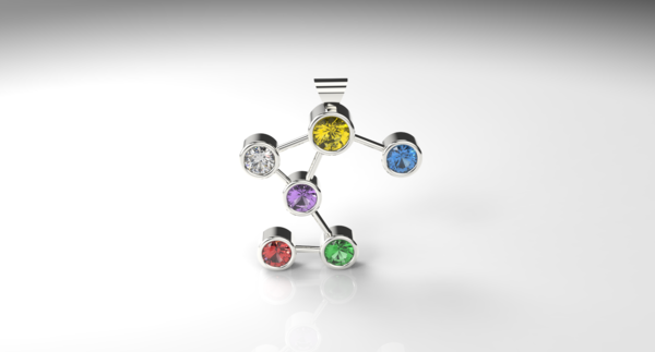 Each pendant is made up of a selection of colourful semi-precious gemstones which include Amethyst, Peridot, Garnet, Citrine, Tanzanite and Aquamarinethat have been linked together in a pattern that resembles the constellations we see in the night sky.  Availablein 9kt yellow gold and 925 sterling silver.