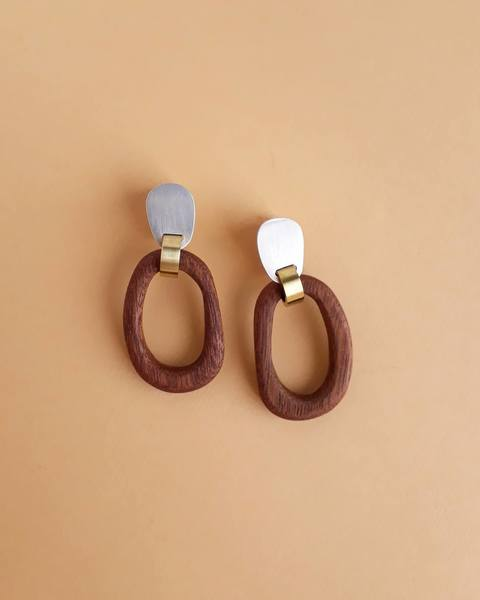 Linked Wooden Hoop Earrings