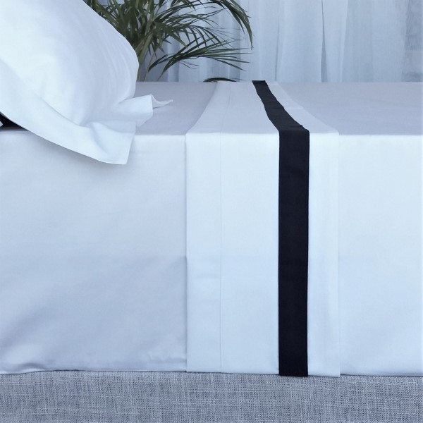 Signature Collection - Double Oxford Flat Sheets - Charcoal on White