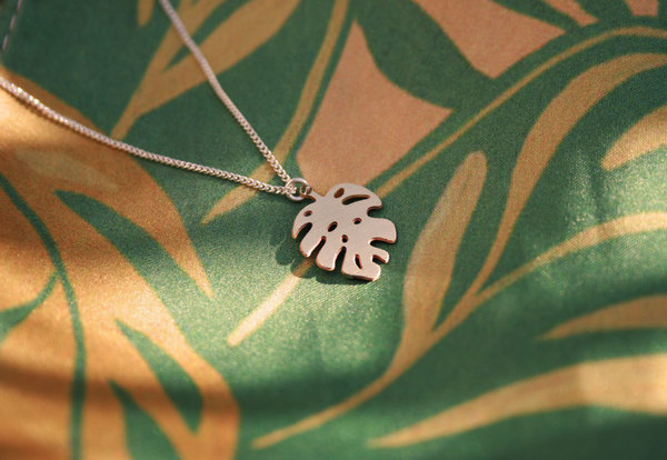 Sterling Silver chain with a brass or stainless steel Monstera pendant