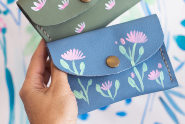 Mini purse - blue blossoms