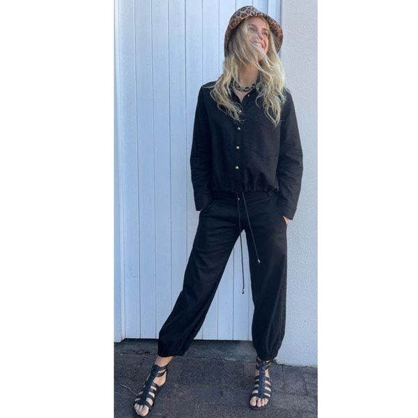 Black Linen Rayon low rise pants with elasticated cuff