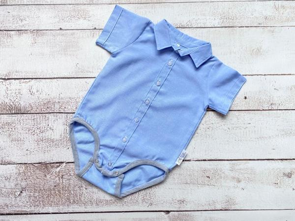 Light blue button up shirt or babygrow for guys up to 24months.  Pair it with a bowtie or long tie, suspenders or geniune leather belt.  All products are handmade locally.  Shipping can take up to 7 days.  Please contact us if you need the products sooner.
