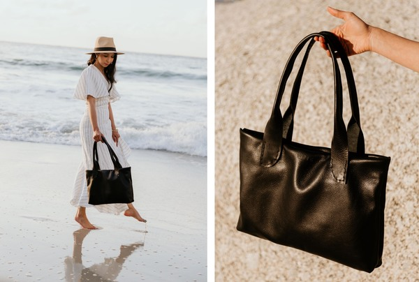 """PLEASE NOTE THAT WE HAVE A 7 -14 DAY PRODUCTION LEAD TIME FORALL PRODUCTS, AS THEYARE MADE TO ORDER.    TheRoya Tote is made with locally sourced leather and closes with twomagnets.  It is lined with a detachable linen lining that is padded. It fits a 13"""" MacBook, notebook or iPad. One small inside dust pocket.  It is hand stitched and features long rolled handles.  Dimensions: L 40cm x H 27cm x W 4cm  Ilundi products aremade with the finest quality materials available. Any irregularities in the colour or in the grain are normal characteristics of natural leather. Leather items may have wrinkles, scars or scratches, that are an inherent quality and natural beauty of the hide.    SHIPPING:  South African orderssent withDawn Wing, 2-3 working days (over and above the production lead time). International orders sent via DHL. Fees automatically calculated at checkout.All customs fees to be paid by the receiver."""