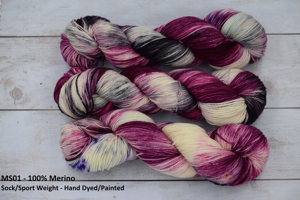 "YARN - 100% Merino ""AME"" , Hand Dyed/Painted in 100g Skeins in Sock/Sport weight"