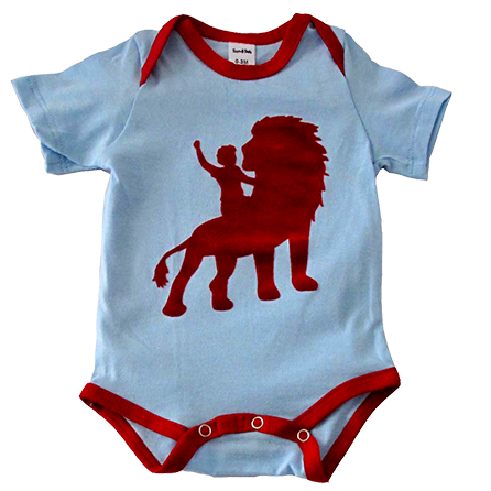 """Locally produced from start to finish 100% cotton tee 'Velvet"""" flocked print The envelope neck allows this item to beremoved by rolling down when soiled Sizes 0-3 M, 3-6 M, 6-12 M available in onesie Sizes 12-18 M and 18-24 M available in baby tee"""