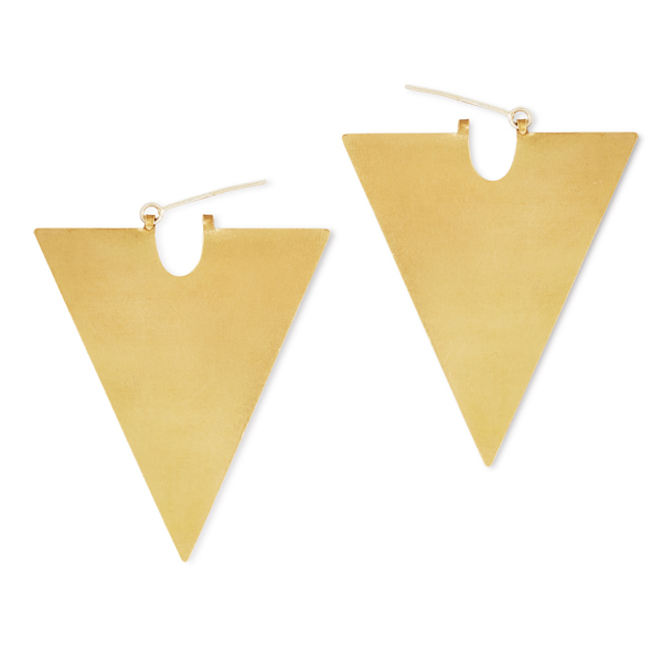 The Airs II (Long Triangle Brass Shape Earrings)