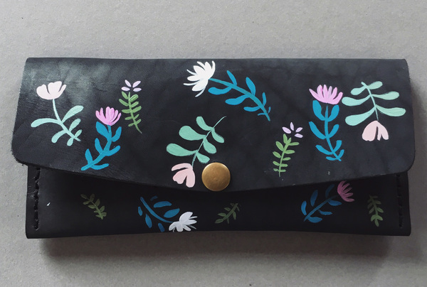 Hand painted Long wallet - floral dreams