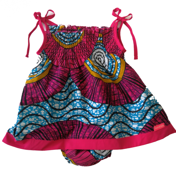 Locally produced from start to finish 100% African cotton Each print is a limited edition, because only small quantities of fabric can be sourced Set includes little dress and diaper cover Sizes available 3-6 M, 6-12 M, 12-18 M, 18-24 M