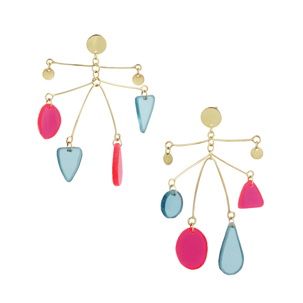 Ant Moblie earrings Pink and Blue