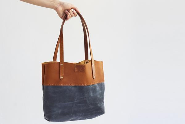 Soft Tote bag - tan and distressed denim