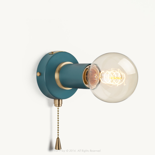 Pullchain Harbour Teal Simple Wall Sconce