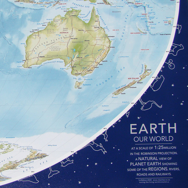 Earth, Our World, is a new landscape map showing Earth at the scale of 1:25million, with rivers, roads, rail, regions, ranges, countries, cities, oceans, islands and more. Chris has delighted in uncovering the landmasses north and south. We think it's the best map of our world. We'd love to know what you think.  Size: 1540 x 797mm  Paper: 230gsm Hi Kote, digital print
