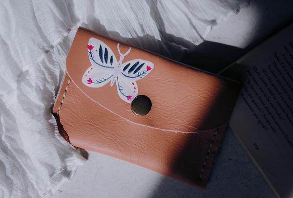 Mini purse - dusty pink butterfly