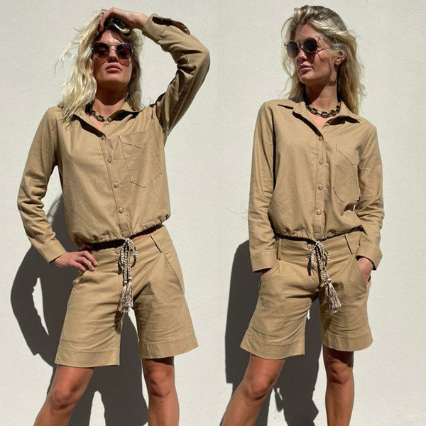 The camel linen rayon shorts (60% linen 35%rayon )with5% spandex  The fitof these shorts is a flattering low rise cut (waist band 2cm below the belly button) with deep side slanted pockets. The leg width is classic, comfortable andstraight in cut. The lengthfinishes approx..10 cm above the knee for average height. To wear shorter cuff can be turned up.  All linen has been pre- washed for shrinkage. Cold hand washo coldmachine wash is recommended. Do not Tumble dry!  Fit and Size :  Small fits size 10  Medium fits size 12  Large fits size 14