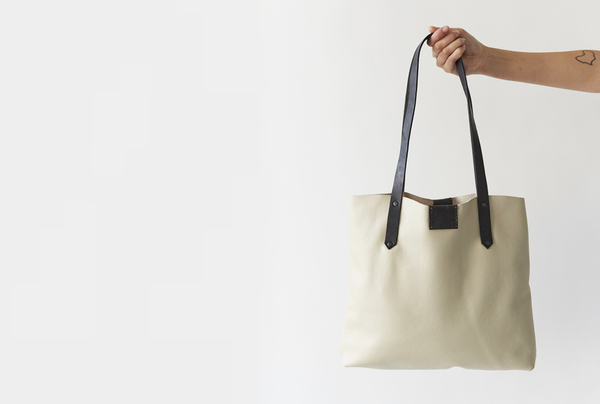 Soft Tote Bag - Eggshell + Onyx