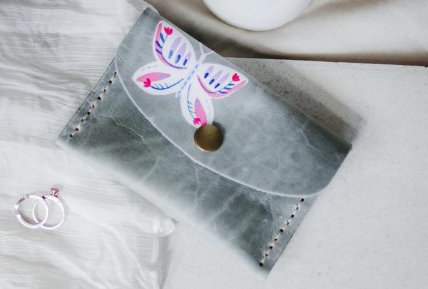 Mini purse - grey butterfly