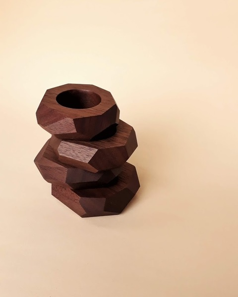 Facet Walnut Wood Napkin Rings