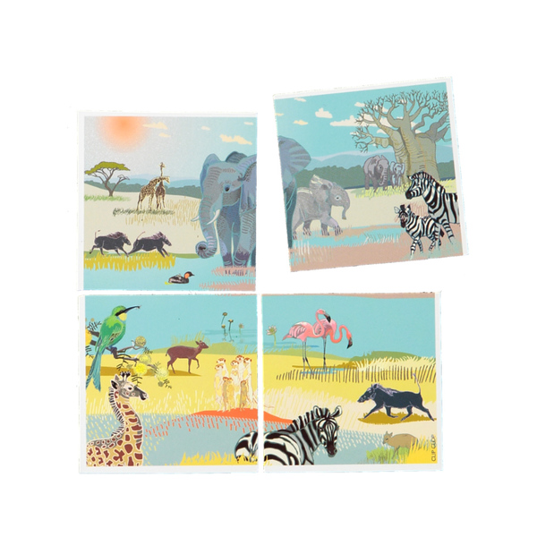 """Animal Fridge Magnets are back.  Each magnet is 50 x 50mm and packed in sets of 4. Choose your favourites from the drop-down menu: animal puzzle set, animals and birds, with or without """"South Africa"""" and """"Cape Town"""" and an Africa map. The animal illustrations are by Cape Town artist Sheila Petousis and feature in our Family Calendar too."""