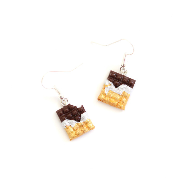 Chocolate Polymer Clay Dangly Earrings