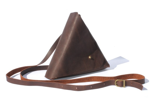 Chocolate, Brown, Black and Toffee Genuine Leather Triangle Handbag