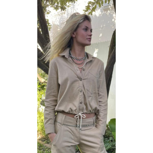 Camel Linen Rayon Shacket with cord Tie