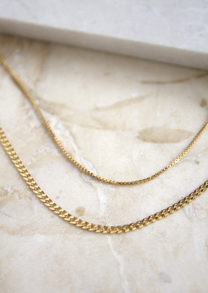 Set of two everyday lightweight chains. Great for layering with other chain and necklaces.  Set; Box chain + Boyfriend Chain  Material:  - Made in sterling silver andgold vermeil. Vermeil isan 18k gold platedlayer on sterling silver.  - Chain length: 45cm & 50cm  Each piece is made to order, the production time after your order takes around 3 days before shipping. Shipping takes 5 days with international and 3 days local couriers.