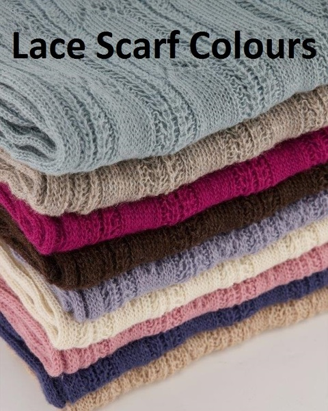 SCARF - Leaf Design - made using 100% Superfine Alpaca Yarn in natural blend and dyed colours