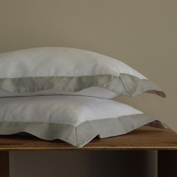 True Linen Collection – Fusion Oxford Pillowcases (2) – Mist on Salt