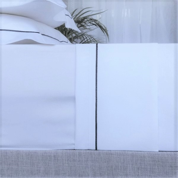 Signature Collection - Single Satin Stitch Flat Sheets - Charcoal on White