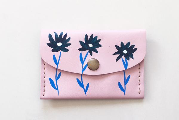 Mini purse - pink wildflowers