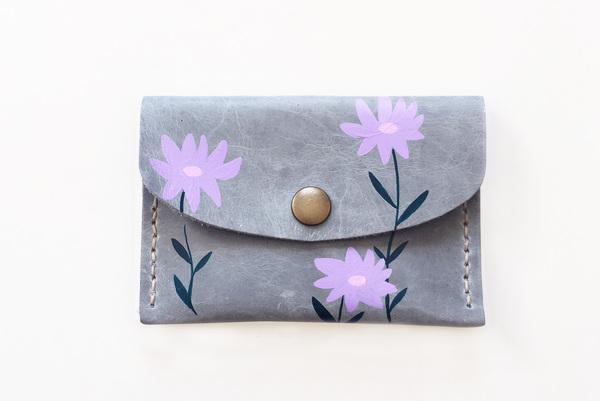 Mini purse - lilac wildflowers