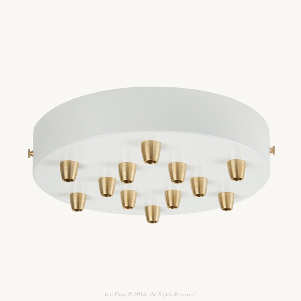 200 mm White Ceiling Cup with Brass Cable Grips and Brass Thumbscrews.