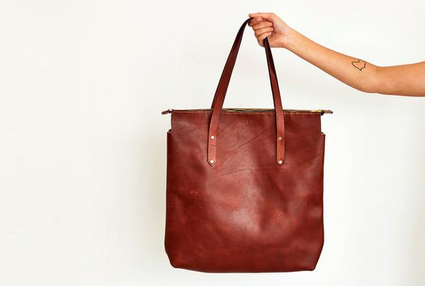 Long Shopper Bag - mahogany