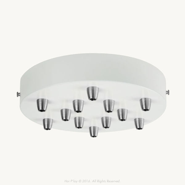 200 mm White Ceiling Cup with Stainless SteelCable Grips and Brass Thumbscrews.  Please select multiple holes ceiling cup options.