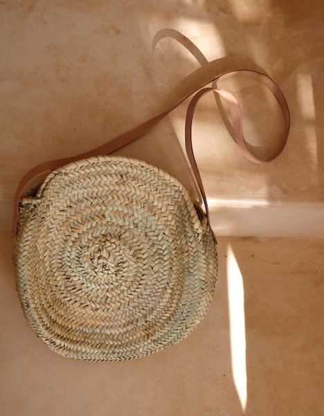 Woven Round with Leather Straps