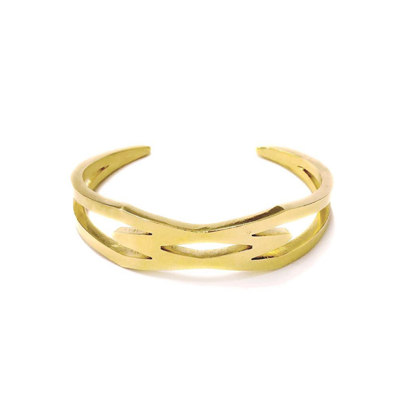 """Collection Connection Bangle cuff  2 interconnected 'Diamond' shapes make up this bangle cuff. Made with Gold Plated Brass 3mm square bar. A great bangle for stacking. (note gold platingmay wear off but the brass colour stays a beautiful bright gold and seems not to discolour the skin. In Fact it is said that tiny amounts of brass or copper may beabsorbed into the body. This is said tohelp preventjoints from developing pain,as well as regrow joint cartilage that has been lost because ofarthritis, which may helpcure the ailment and relievepain.)  This bangle's name is inspired by Collection in Dressage, where the horse's strides are shorter but he maintains his rhythm and he collects his legs closer to each other under the body. Thus the bangle is named so because the diamond shape is much more narrow and collected than its counterpart bangle the """"Extension connection Bangle cuff.""""  Size: Are adjustable, approx height 5,0cm, width 6,0cm weight 26g"""