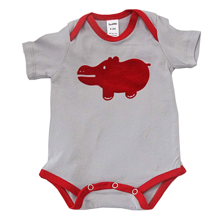 """Locally produced from start to finish 100% cotton tee 'Velvet"""" flocked print Available in red or navy contrast, and purple The envelope neck allows this item to beremoved by rolling down when soiled Sizes 0-3 M, 3-6 M, 6-12 M available in onesie Sizes 12-18 M and 18-24 M available in baby tee"""