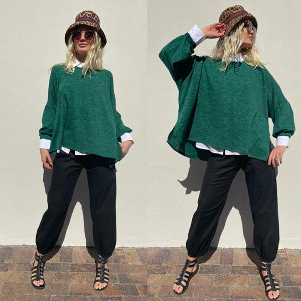 Emerald green Boxy knit Jumper