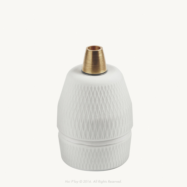 Diamond Porcelain Lamp Holder with Brass