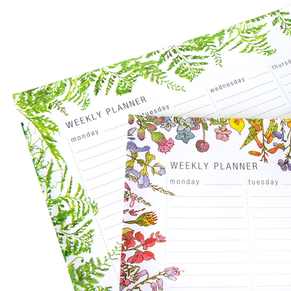free DOWNLOADABLE PLANNERS  We no longer carry stock of our weekly planners but you can print them for yourself at home. For free. Original size is 33 x 24cm but you can fit it to an A4 page and it works brilliantly. Or print on A3  Click on the links below, save your download and print to fit on A4 or A3 paper. This is for personal use only of course  FERNS - weekly planner  FLOWERS - weekly planner  INSECTS - monthly planner  There's an option for ordering 20 printed A4 pages of your choice which we can ship to you. Select from the drop-down menu.