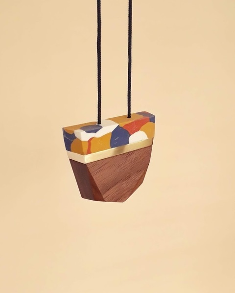 Facet Wood with Clay Pendants
