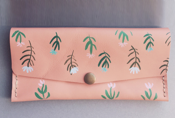 Hand painted Long wallet - wild flowers