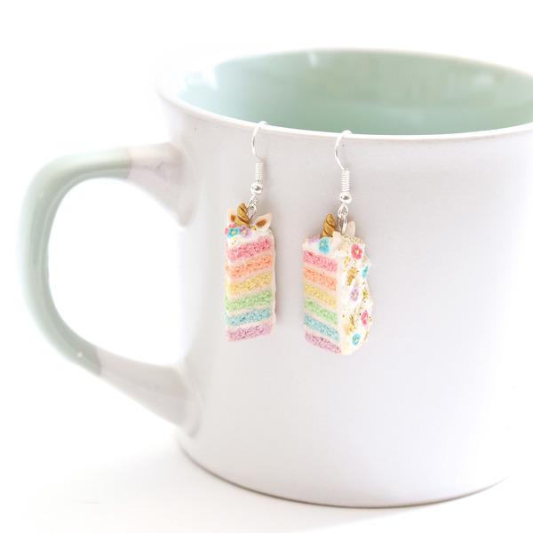Unicorn Rainbow Cake Dangly Earrings