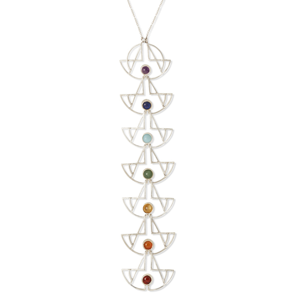 The Balance Chakra Pendant  A Colorful long Pendant for Balance, Yoga, Mindfulness, Meditation and Reiki using the 7 Chakra stones, set in Sterling silver and balanced framework.  May this necklace help you associate the colours you see in the world around you with their corresponding chakra. These colours all have meanings which help cleanse, align and balance your energy centers.  Amethyst - Crown Chakra; lapis lazuli - Brow Chakra; Turquoise-Throat Chakra; Jade- Heart Chakra; Citrine - Solar Plexus Chakra; Carnelian - Sacral Chakra; Garnet - Root Chakra  from the Equine Psychotherapy: (Psych Rock inspired Jewellery) Collection:  Named after the practise of therapeutic horse riding, this collection is about working with healing crystals and mindfulness in balancing energy and creating a positive and enlightened psyche. Everything has energy and life is a transfer of these vibrations. As crystals have such a stable molecular structure, their vibrational energy is strong. It is said to help balance, purify and support our own vibrational energy, as it is not as corruptible as ours. A powerful tool of the physical dimension. If used consciously to transmit frequency (like in a radio) through thought and intention it may have a balancing, purifying and supportive response on the psyche and the body. This theory inspired me to work with the Buddhist meditation chakra energy centres of the body and their corresponding crystals. I also looked into other cultural practices of expanding or enlightening the psyche. One of which is that of the Psych rock music culture. They wore layers of necklaces and bangles with crystals, over shirts embroidered or hung with tassels. This is the basis of the Equine Psychotherapy collection, including the chakra pendant necklaces.
