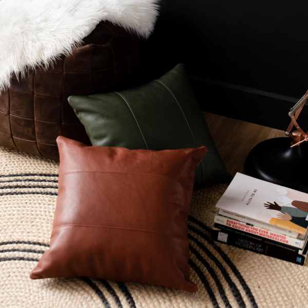 A beautiful leather scatter cushion to decorate your living spaces.  SIZE: 50cm X 50cm / 60cm X 60cm