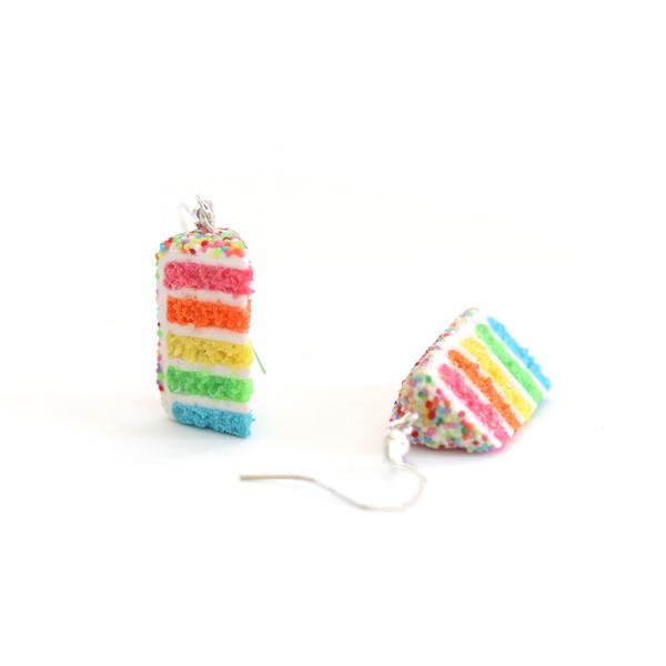 Neon Rainbow Cake Dangly Earrings