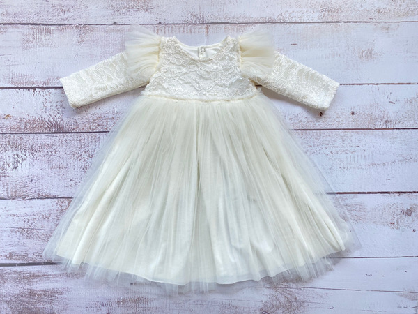 Cream lace dress. Floor length. Lace shoes and head band optional.  Dress - R450  Shoes - R185  Headband - R85  All itemscan take up to 10 working days for delivery