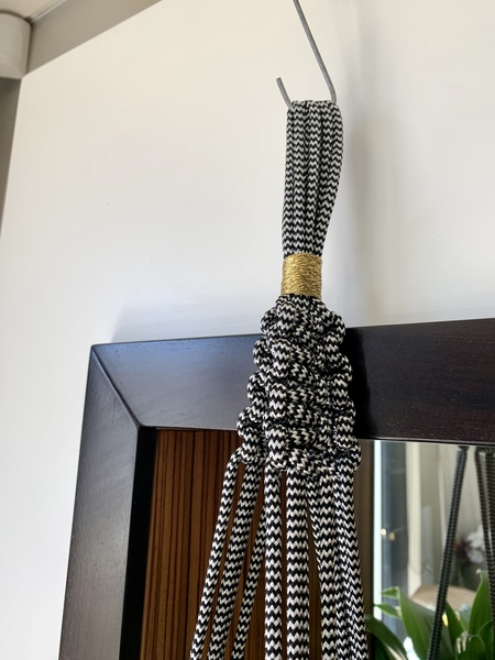 Black Macrame with Gold Thread Detail