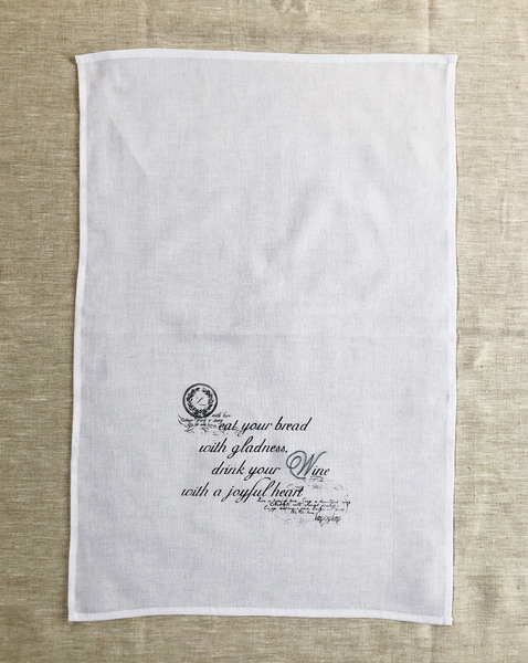 Add a beautifully stylish touch to your home with our hand-printed and hand-embroidered muslin kitchen or hand towel. Can be used beautifully as napkins, a tray cloth, to shine glassware or as gift wrapping.